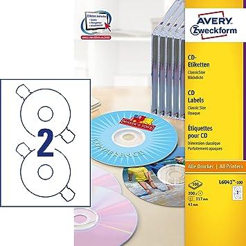 Avery Zweckform L6043 100 Cd Etiketten A4 200 Stuck O 117 Mm 100