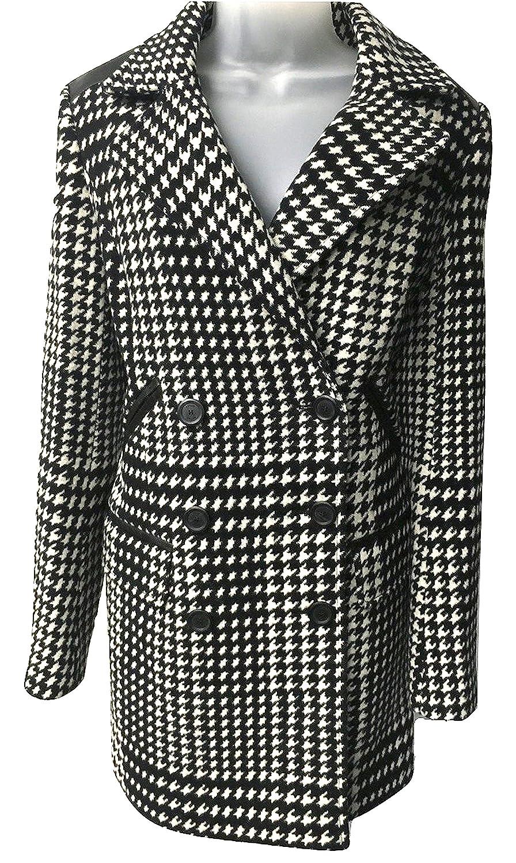 Karen Millen Damen Trenchcoat Mantel Schwarz Schwarz und Weiß One size