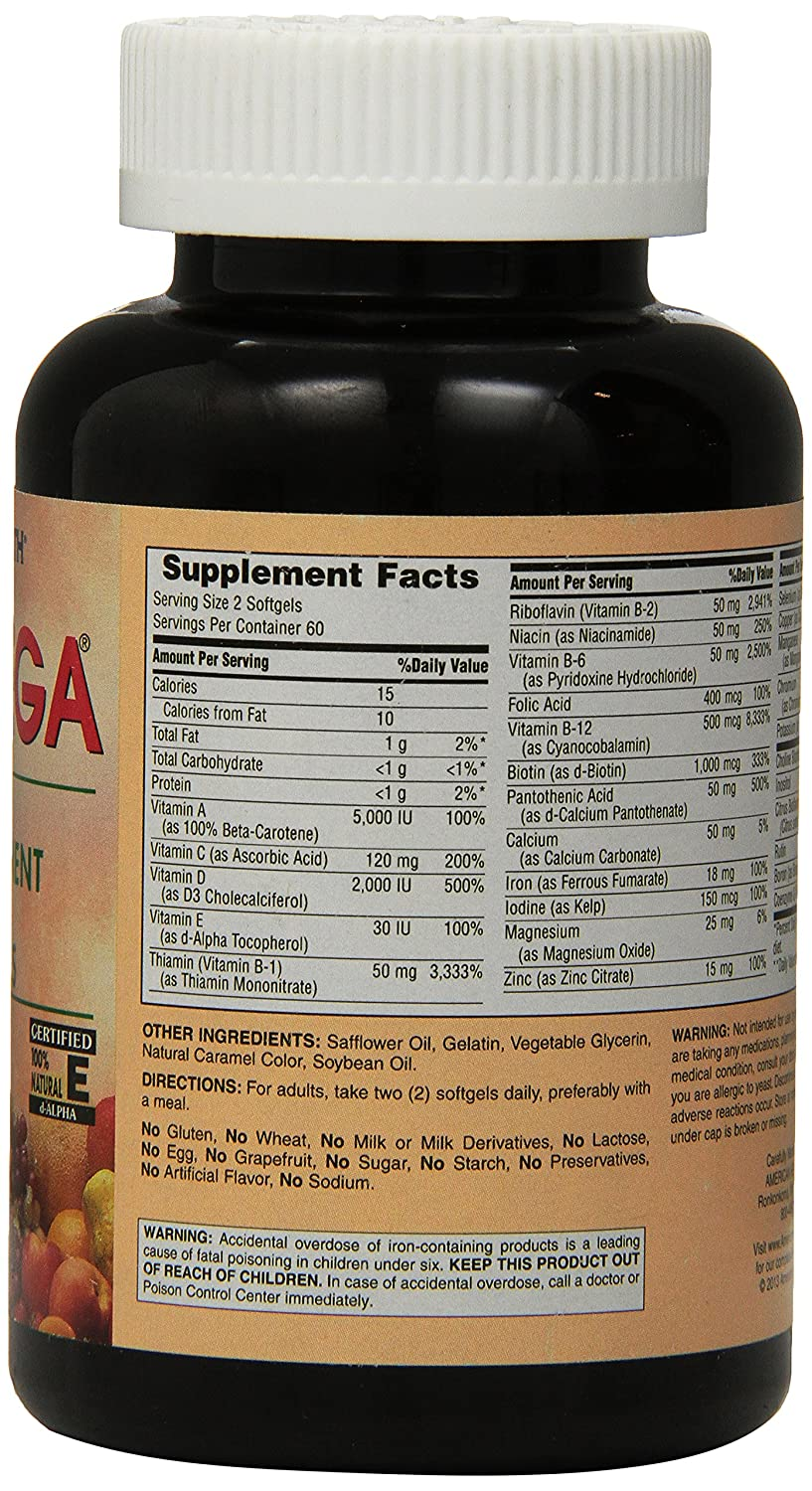 Amazon.com: American Health Nutri Mega Super Potency with Antioxidants Softgels, 120 Count: Health & Personal Care