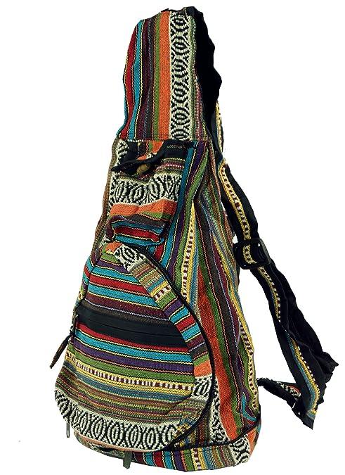Guru-Shop Mochila Hippie, Mochila Nepal Tejida, Unisex - Adultos, Multicolor,