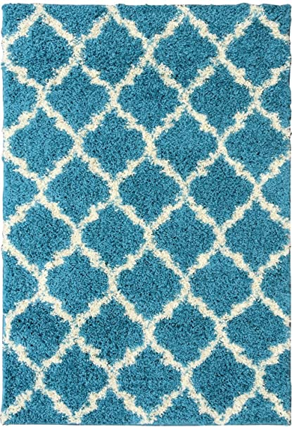 turquoise blue shag rug amazoncom ottomanson ultimate shaggy collection moroccan trellis