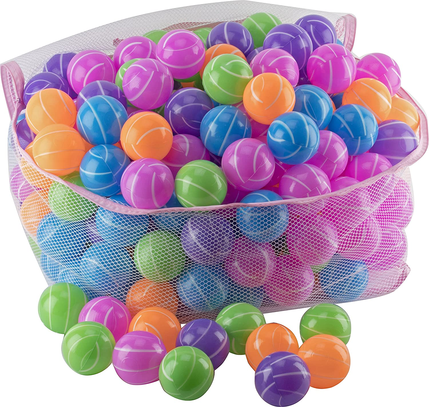 Play22 Ball Pit 200 Pack - Stripe Shape - Ball Pit Balls Crush Proof BPA Free - Includes Reusable Zipper Mesh Bag - Colorful Fun Ball Pit for Kids and Baby - Ball Pit for Any Ball Pool - Original