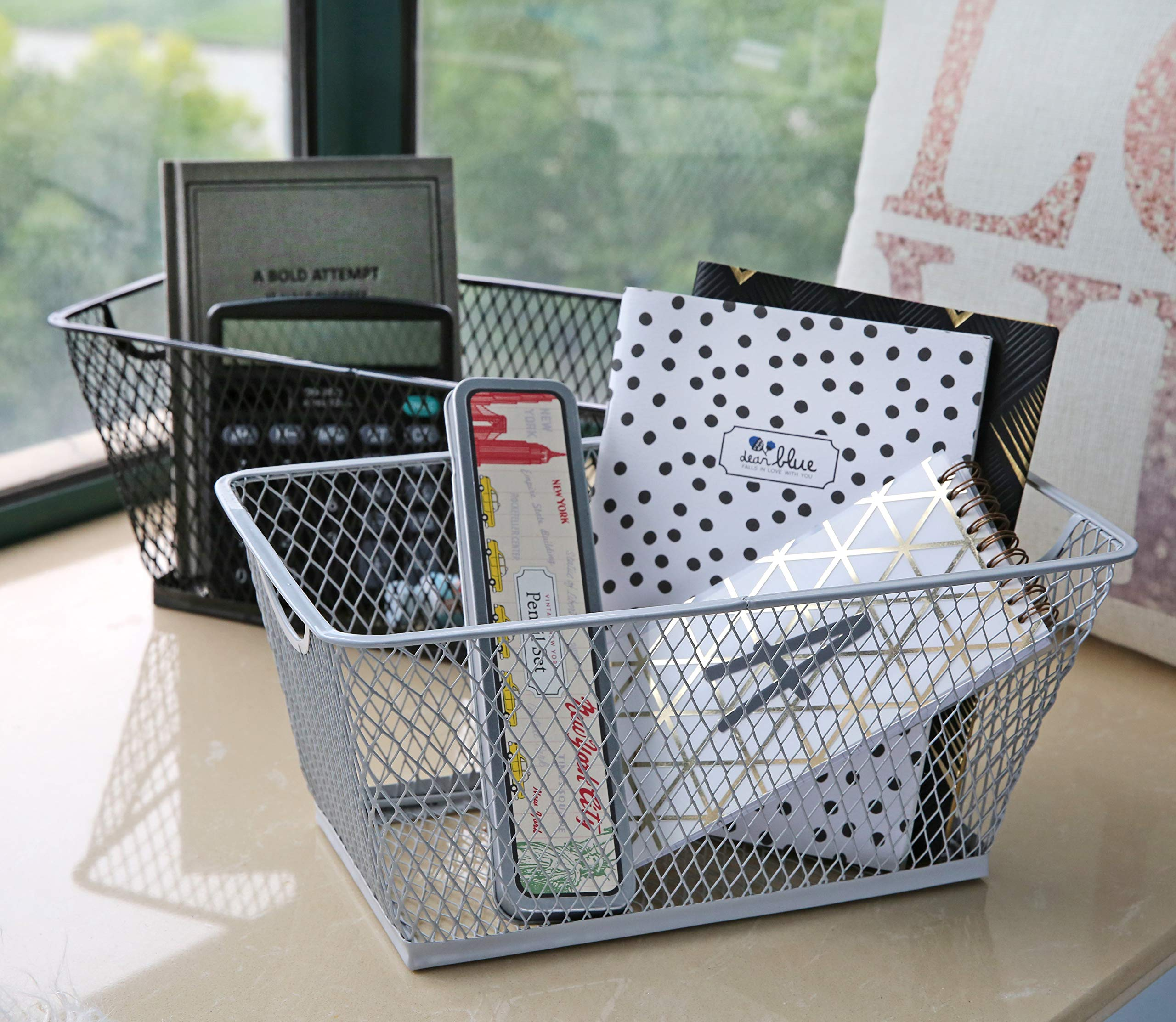 SLPR Office Desktop Organizer Wire Basket (Set of 2, White) | Classroom Craft Room Kitchen Pantry Garage Desk Stackable Metal Tapered Storage Bin by SLPR (Image #2)