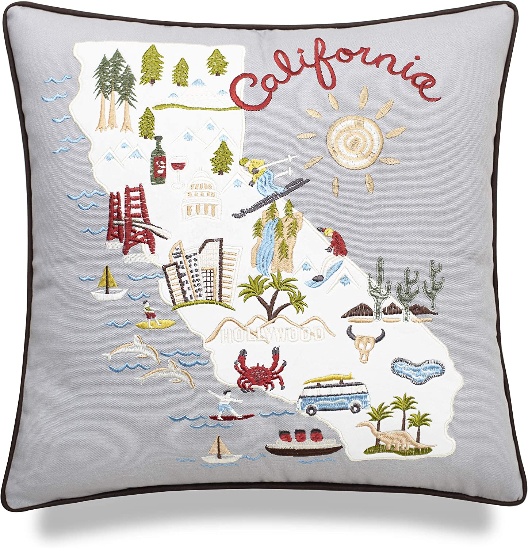 EURASIA DECOR California State Embroidered Decorative Accent Pillow Cover - Birthday Decor, Graduation Gift