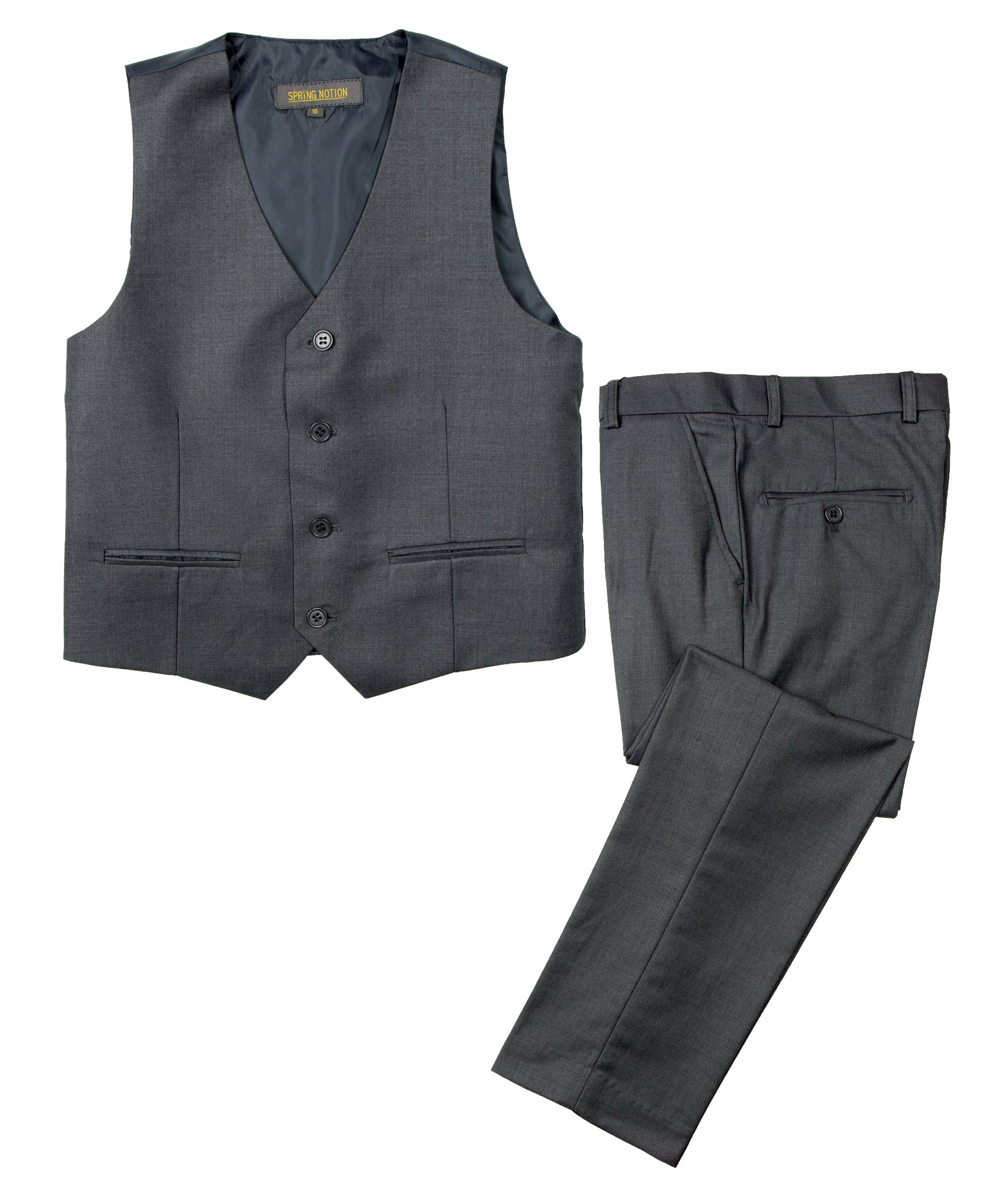 Spring Notion Big Boys' Two Button Suit Charcoal-B 14 Vest and Pants