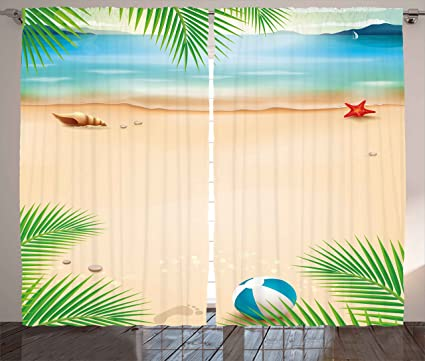 Ambesonne Beach Curtains Seashore With Starfish Seashell Palm Tree Summer Ocean Illustration Living Room