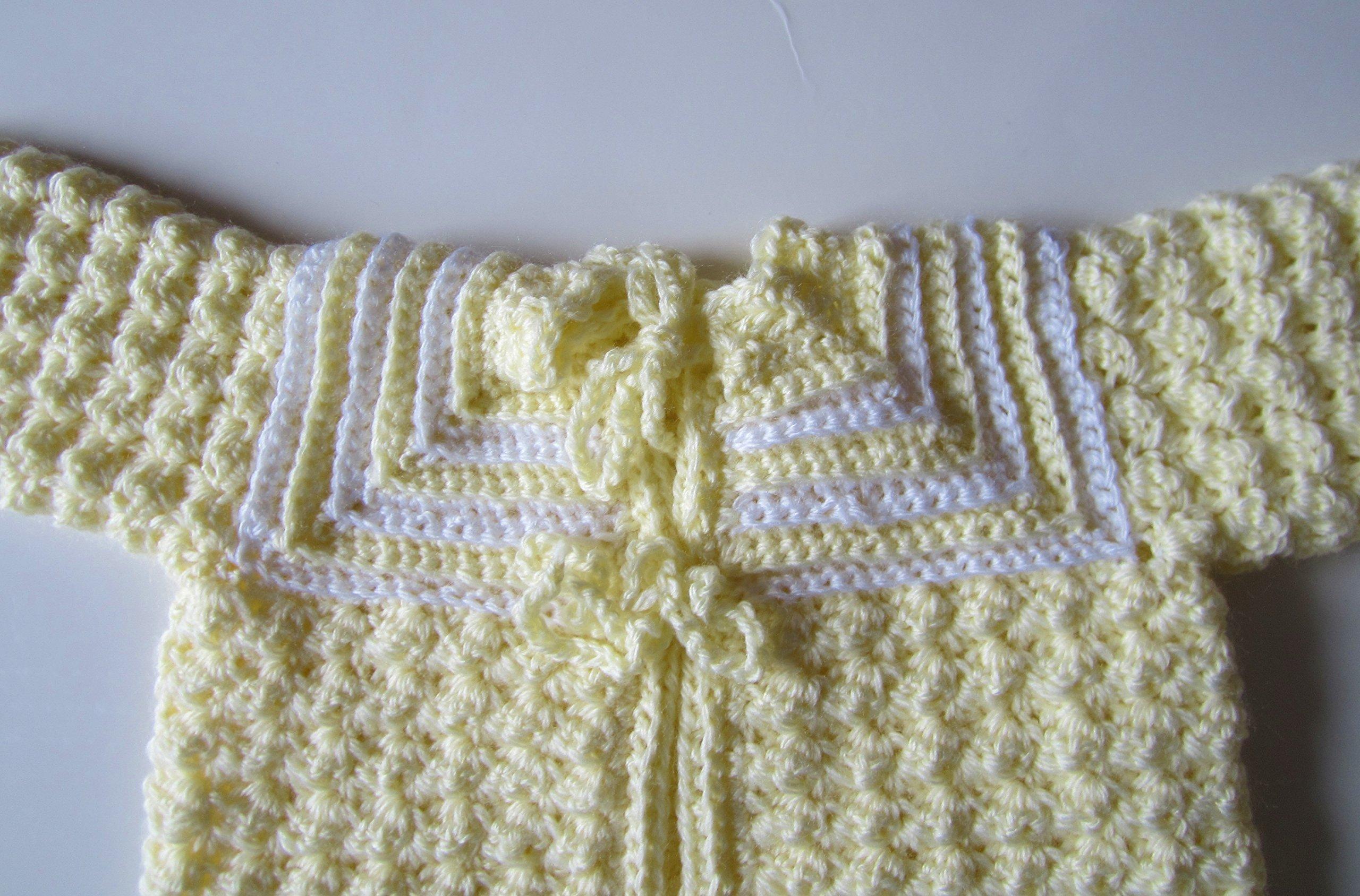 Crocheted Yellow Newborn Sweater Set