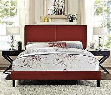 New BURGUNDY RED Upholstered Platform Bed Frame /& Slats Modern Home ALL SIZES