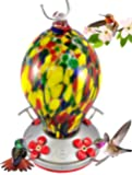 Grateful Gnome Hummingbird Feeder - Hand Blown Glass - Speckled Egg - 28 Fluid Ounces