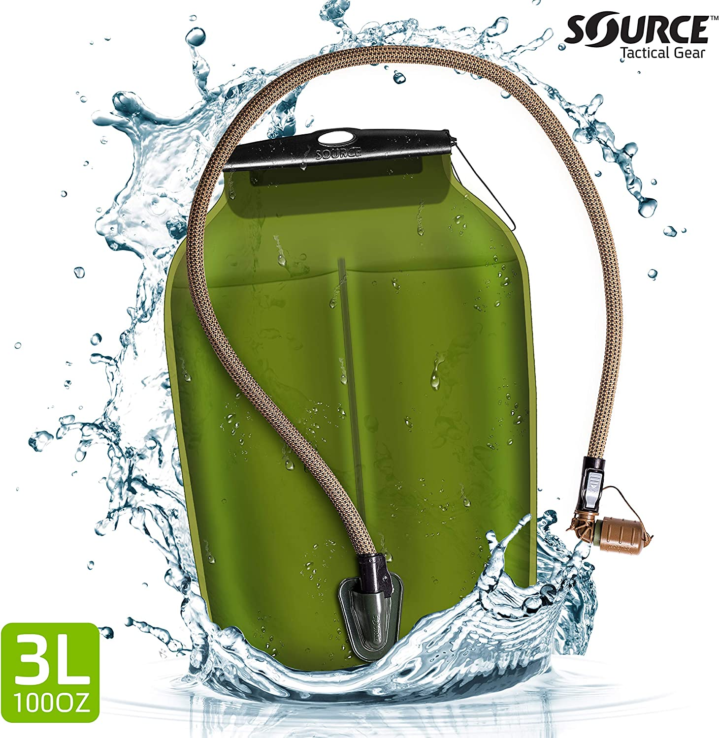 Source Hydration Bladder WLPS Low Profile - 3 Liter (100oz) Water Bladder with High Flow Storm Valve - Featuring All Hydration Technology Advantages