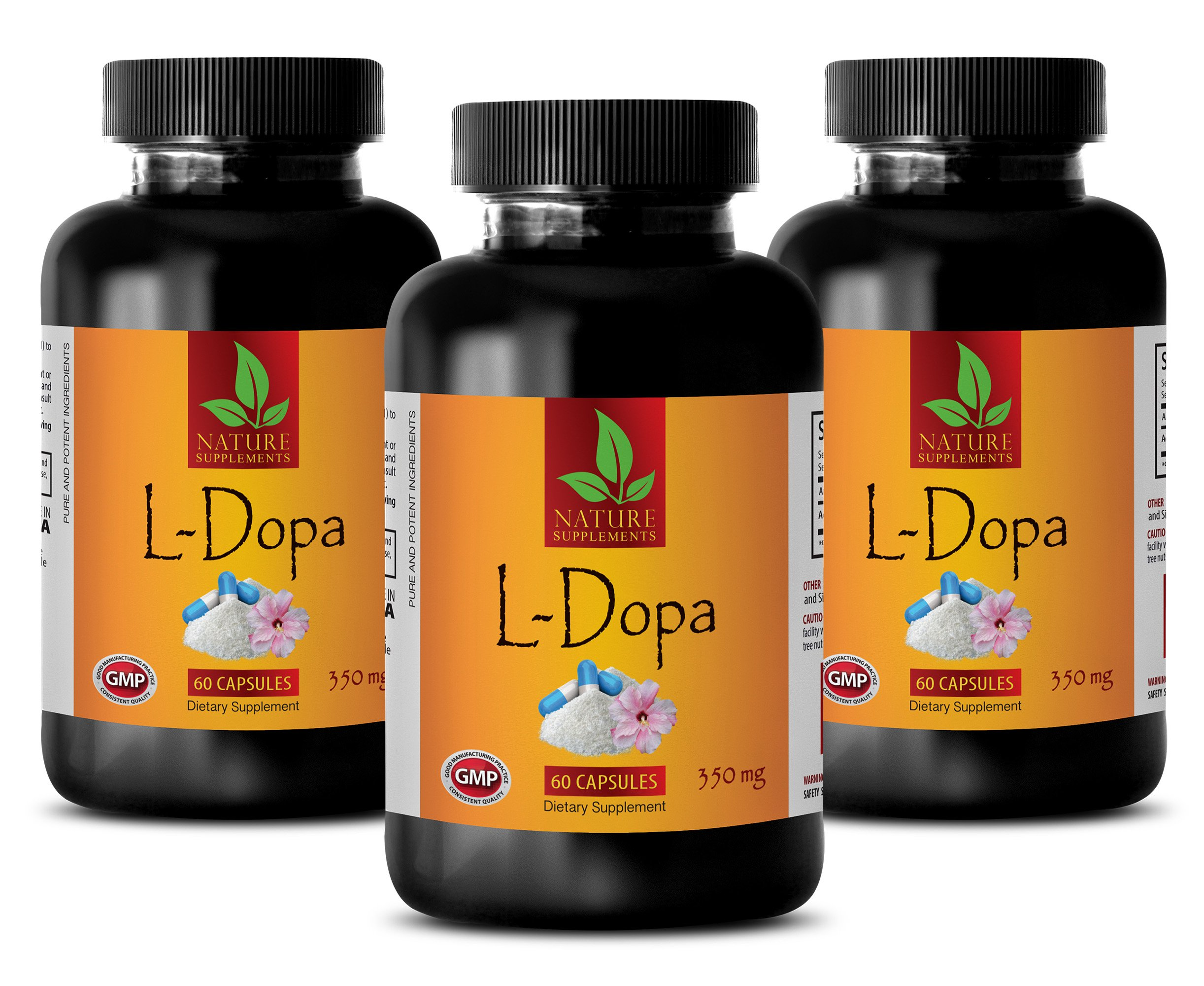 Mood Boosting probiotic - L-DOPA 350 MG - Dietary Supplement - dopa mucuna Now Foods - 3 Bottles (180 Capsules)