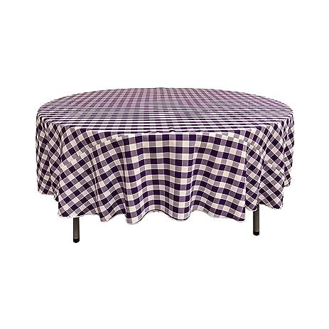 LA Linen Poly Checkered Round Tablecloth, 72 Inch, Purple/White