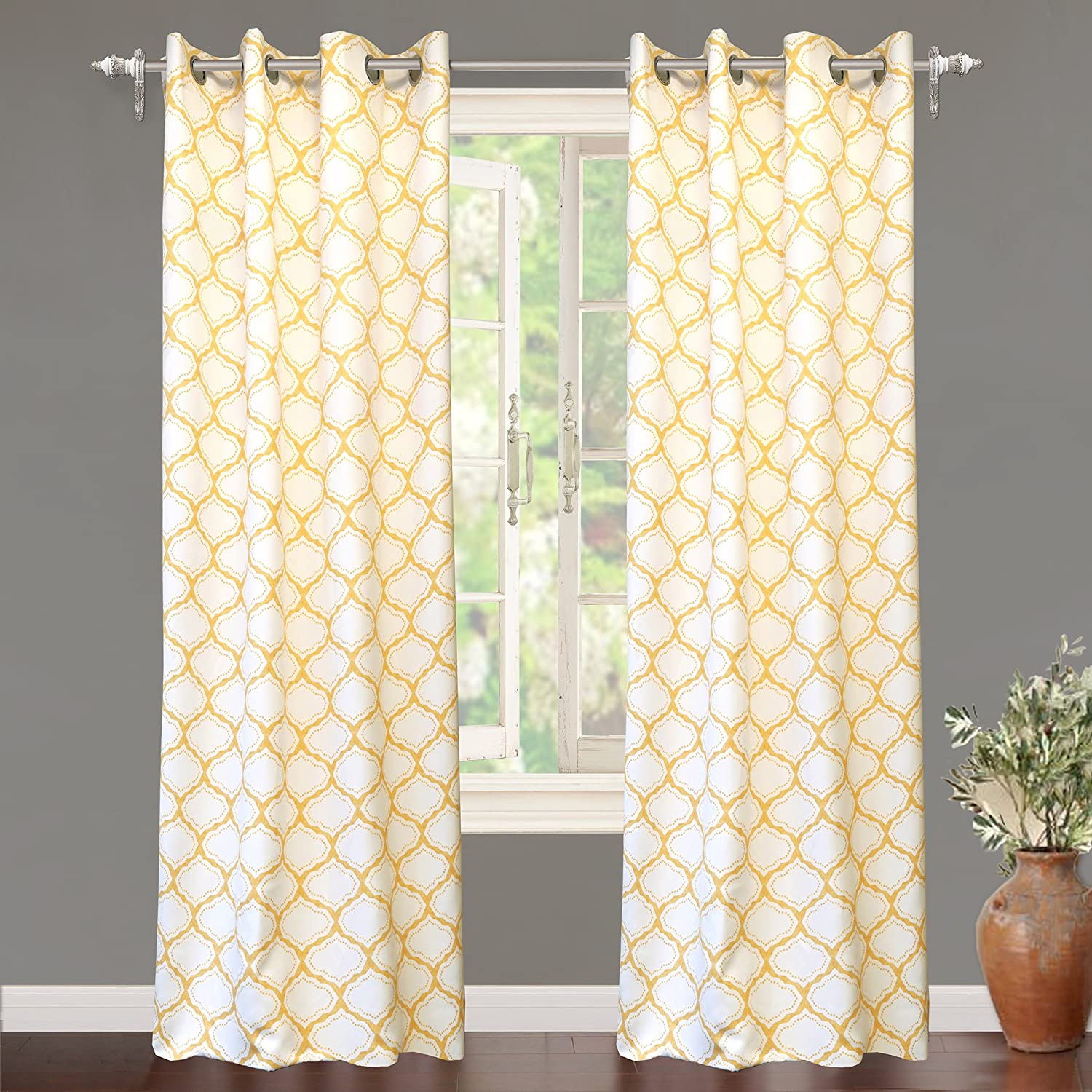 DriftAway Drift Away Geo Trellis Room Darkening Grommet Unlined Window Curtains, Set of Two Panels