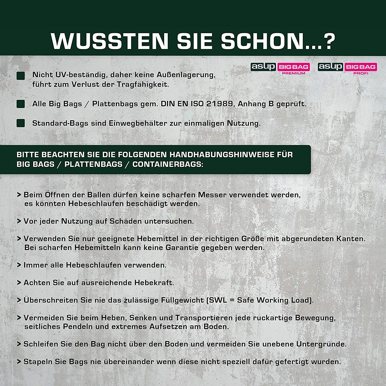 SWL 1.500 kg 30x ASUP Steine//Sch/üttgut Big Bag 90 x 90 x 110 cm