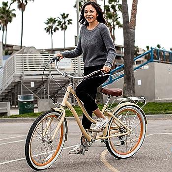 woman riding a sixthreezero evryjourney hybrid bike
