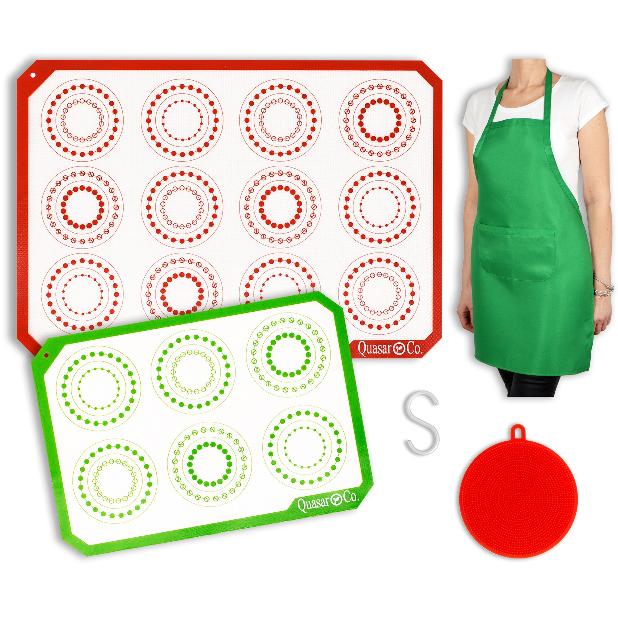Silicone Baking Mat Set - Apron, Silicone Sponge and S Hook | 1 Half Sheet - 1 Quarter Sheet | Reusable Baking Mats Silicone | Professional Non Stick Cookie - Macaron Liners|Q4 by Quasar & Co