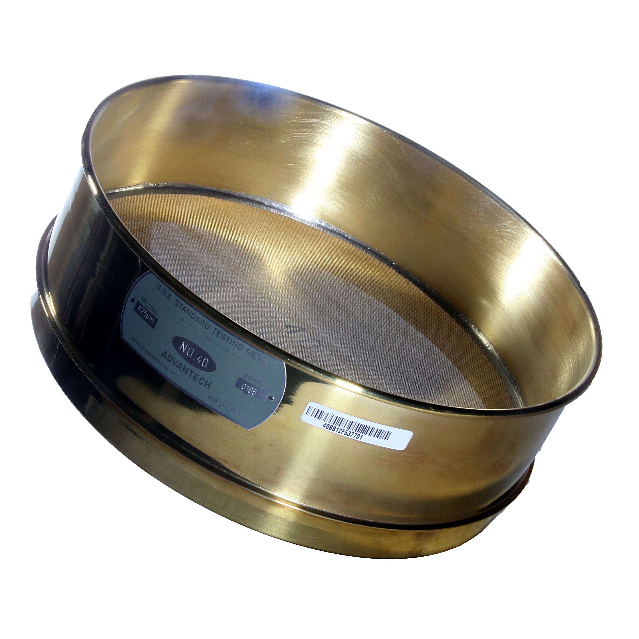 Advantech Brass Test Sieves, 8'' Diameter, #40 Mesh, Full Height