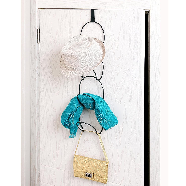 Bag MyGift Modular Metal Wire Over-The-Door Hanging Hat Scarf Racks with 2 Door Hooks /& 8 Rings Clothes