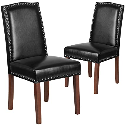 Amazing Flash Furniture 2 Pk. HERCULES Hampton Hill Series Black Leather Parsons  Chair With Silver Nail