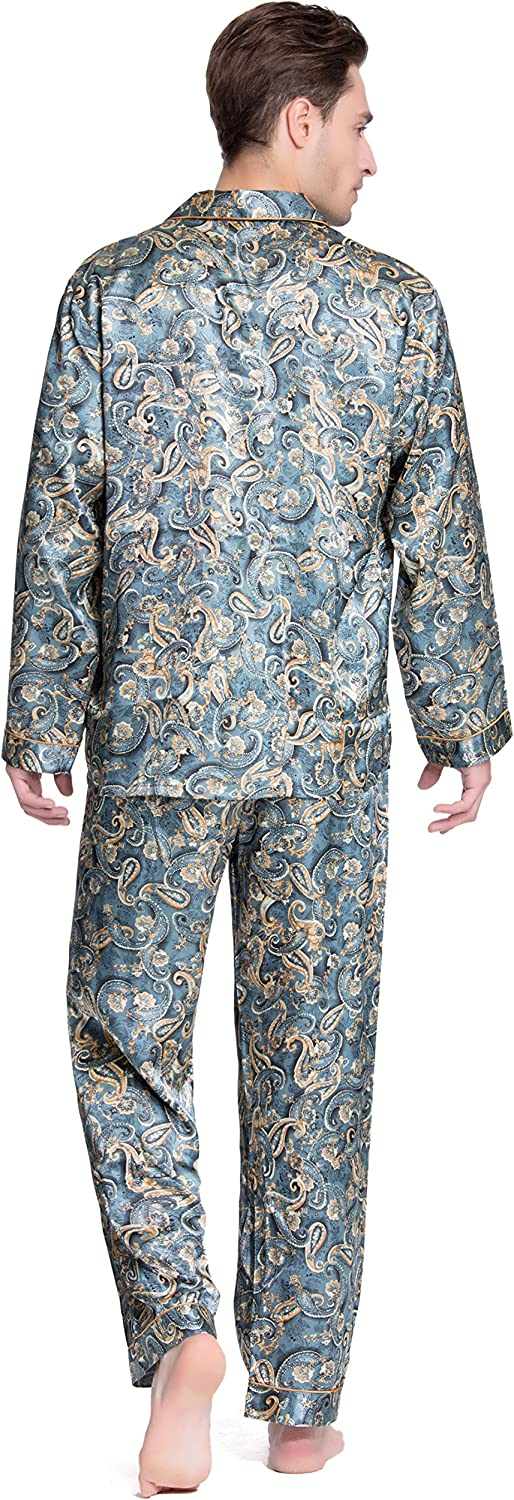 Silky Pajamas Sleepwear Lavenderi Mens Long Sleeve Silk Satin Pajama Set