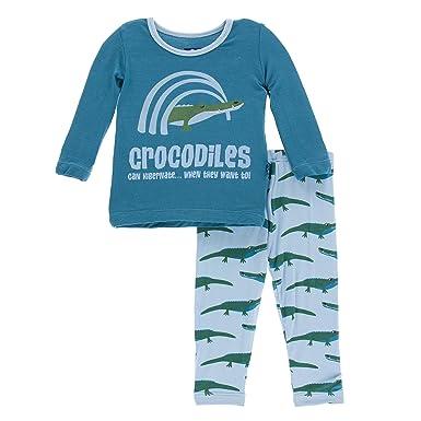 b3daa8569d Amazon.com  Kickee Pants Girls  Long Sleeve Pajama Set  Clothing