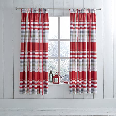 Retro Checks Print Lined Tape Top Pencil Pleat Ready Made Curtains Red Grey