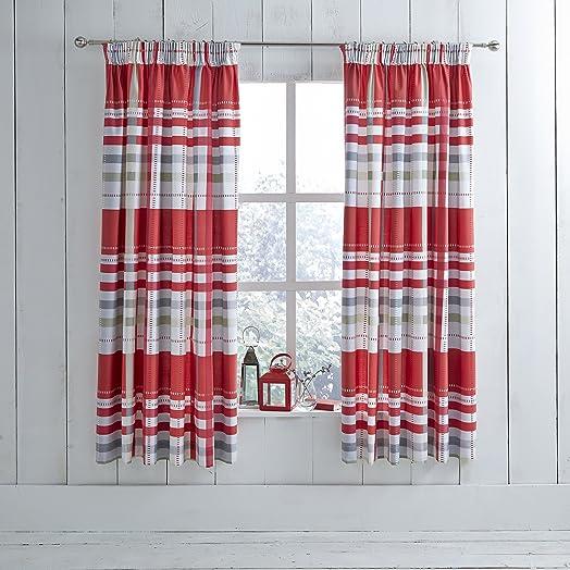 Modern Charlotte Thomas Camden Pencil Pleat Ready Made Curtains - Ready made curtains red