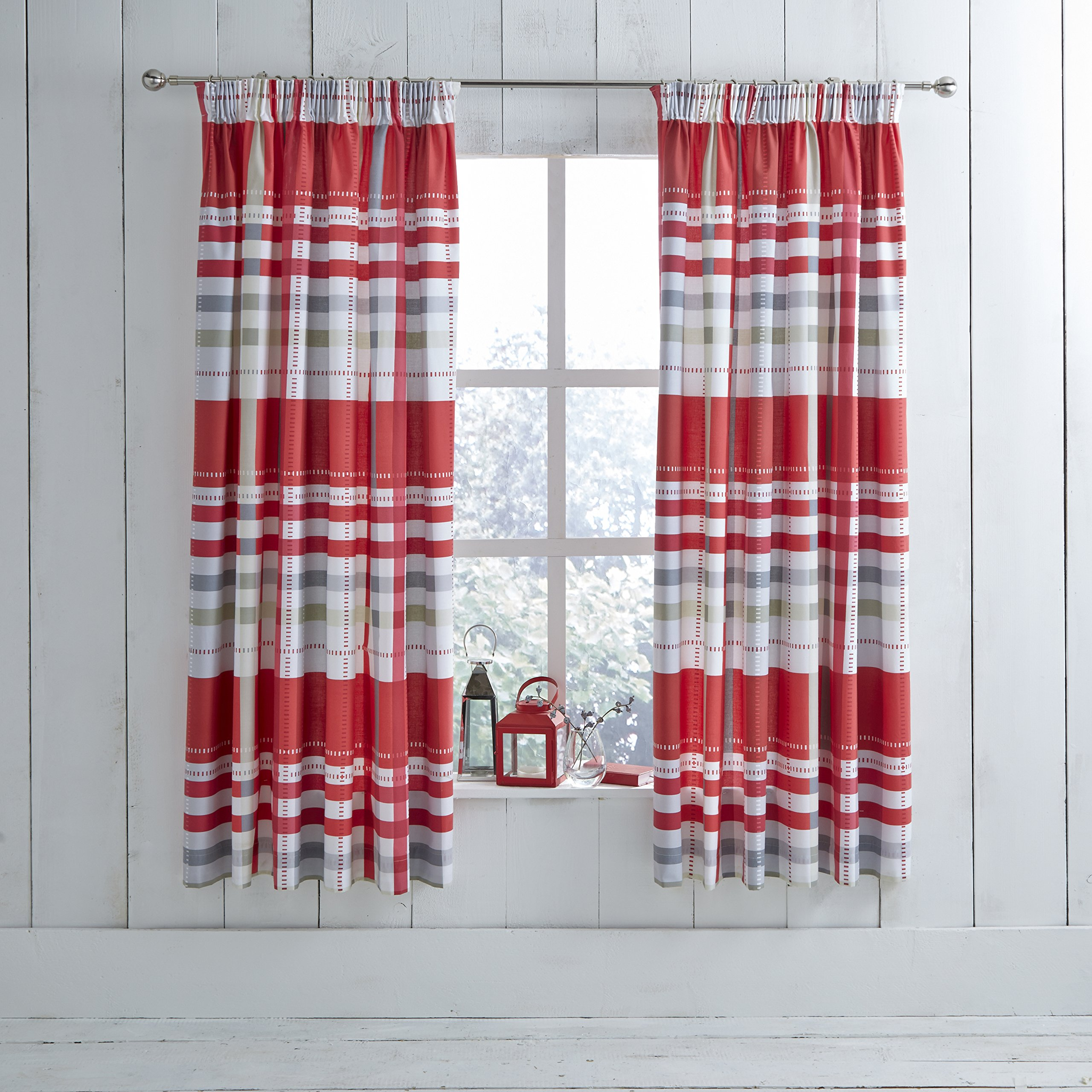 Modern Charlotte Thomas Camden Pencil Pleat Ready Made Curtains Red Grey