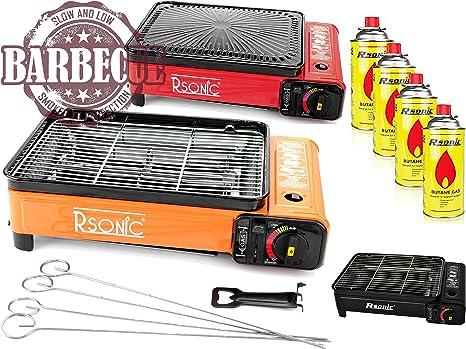 XXL Cocina Camping Cocina Gas Portable Cocina de Gas RS-4030 Parrilla de Gas Mechero de Gas - hervidor con 4 Cartuchos