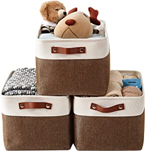 DECOMOMO Foldable Storage Bin [3-Pack] Collapsible Sturdy Cationic Fabric Storage Basket Cube W/Handles for Organizing Shelf Nursery Home Closet & Office (Brown and White, Large - 15 x 11 x 9.5)