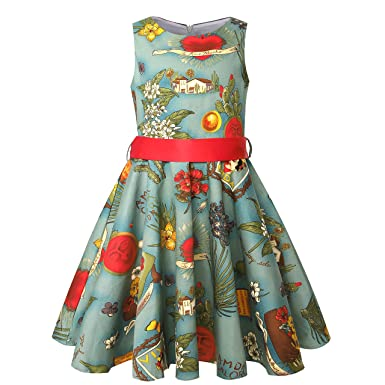 fdd720b0af0 Girls Vintage Swing Dresses with Belt Audrey Hepburn 1950s Retro Style Size  6-12 (