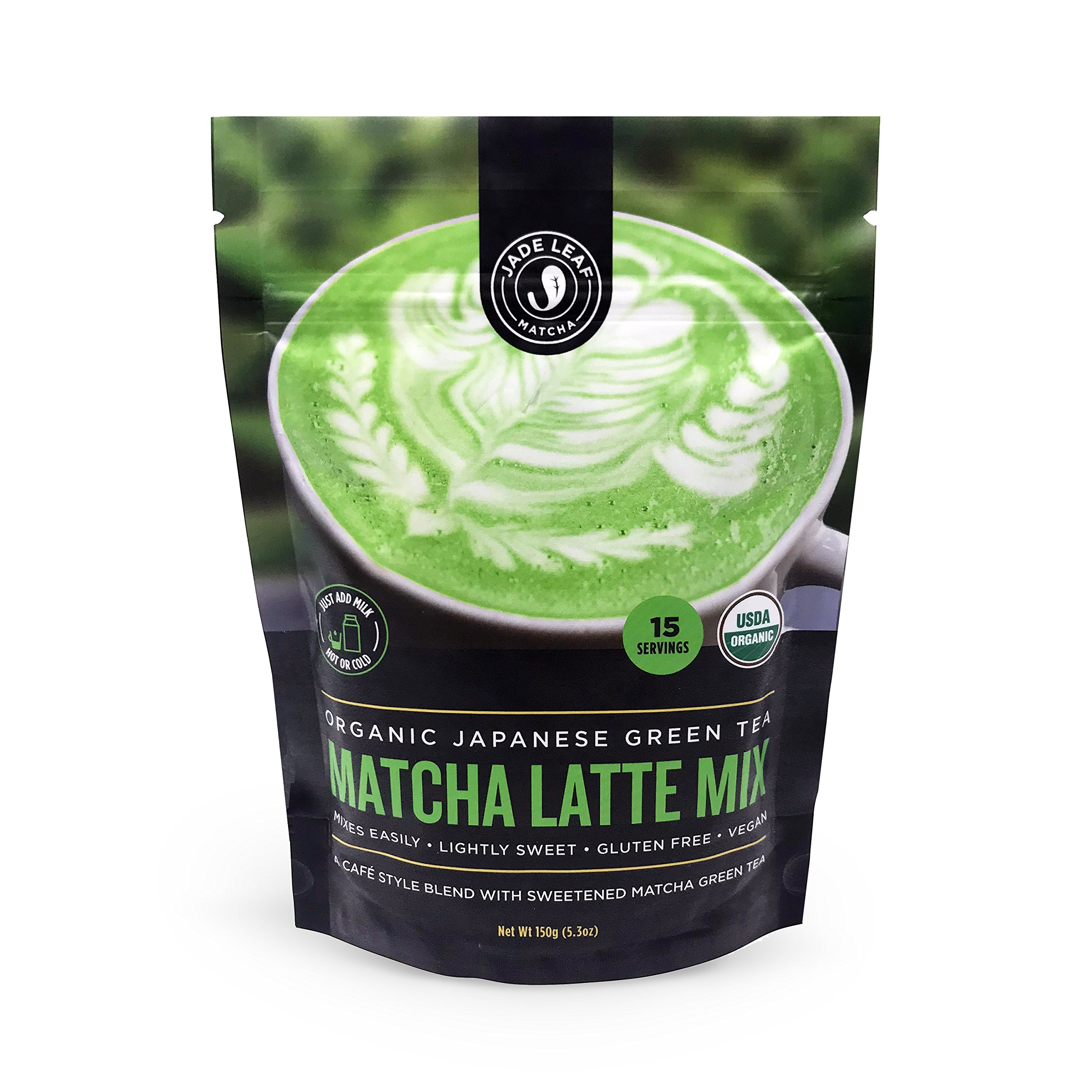 Jade Leaf - Organic Japanese Matcha Latte Mix - Make Delicious Matcha Green Tea Powder Lattes at Home [150g pouch]