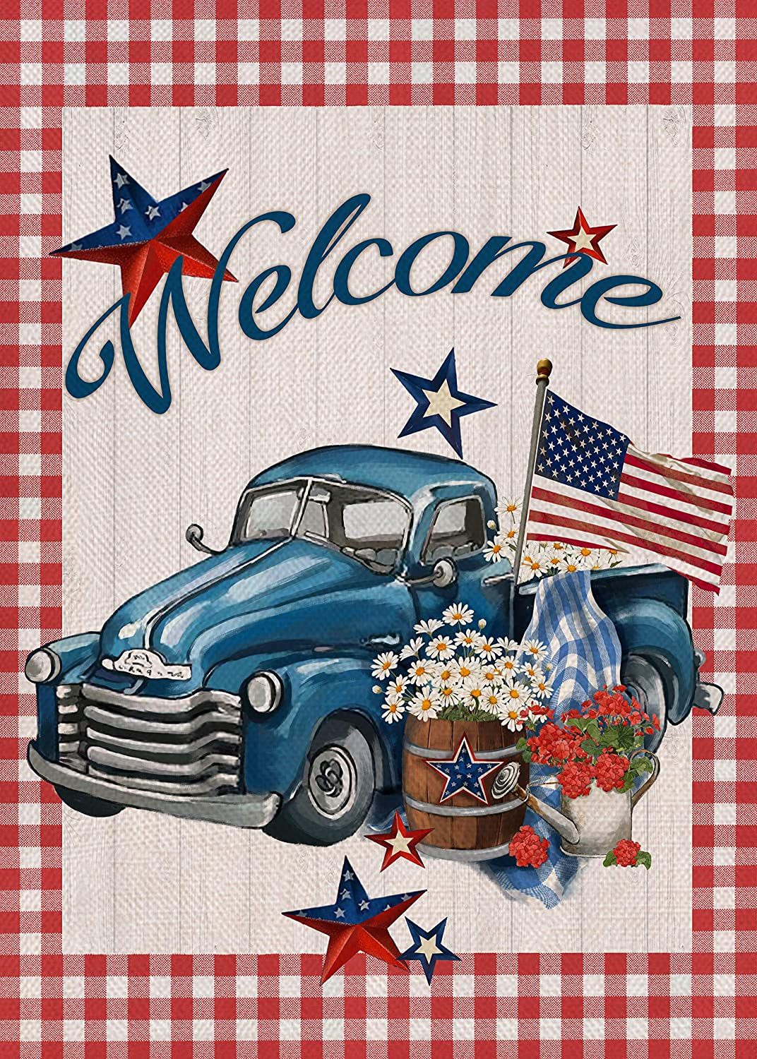 Covido Home Decorative July 4th Welcome Garden Flag, American Red White Blue Truck Star House Yard Decor Sign Summer Outside Decorations, USA Patriotic Outdoor Burlap Small Flag Double Sided 12x18