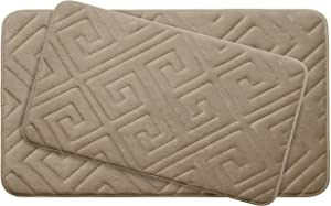 "Bounce Comfort Caicos Extra Thick Premium Memory Foam Bath Mat Set of 2 with BounceComfort Technology, 20 x 32"" Linen"