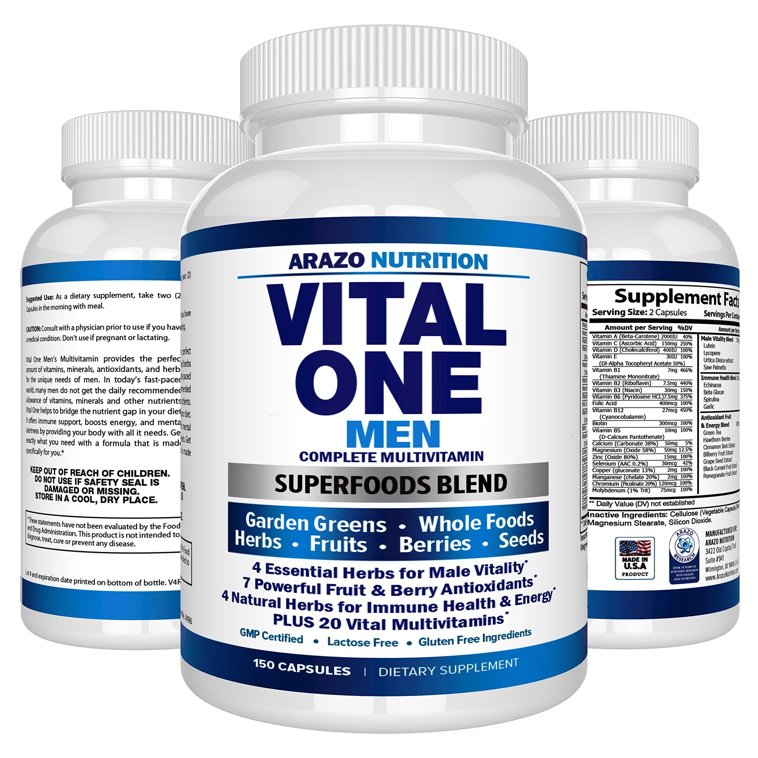 Mens Multivitamin Whole Food Based Once Daily Multi Vitamin Multiple  Seeds