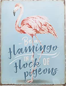 "Barnyard Designs Be A Flamingo in A Flock of Pigeons Wall Art Retro Vintage Tin Bar Sign Country Home Decor 13"" x 10"""