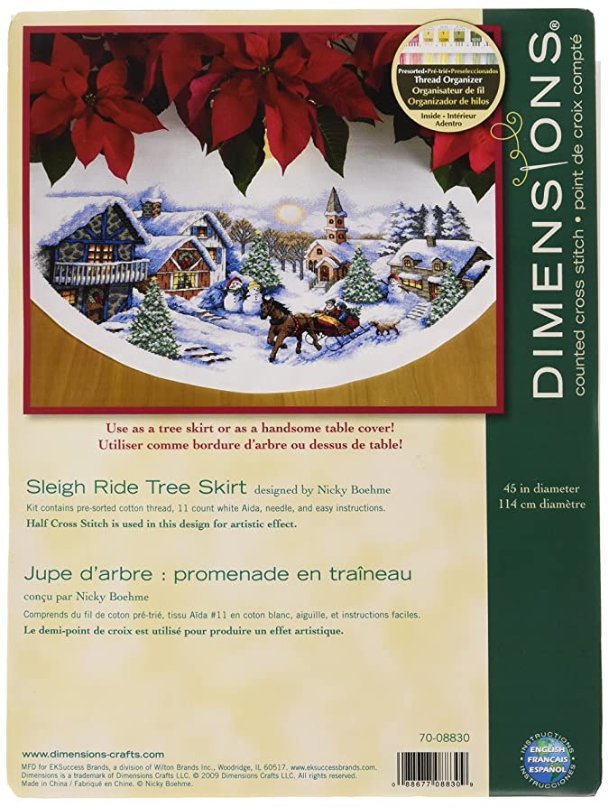 Dimensions Tree Skirt Sleigh Ride Counted X Stitch White Amazoncouk Kitchen Home