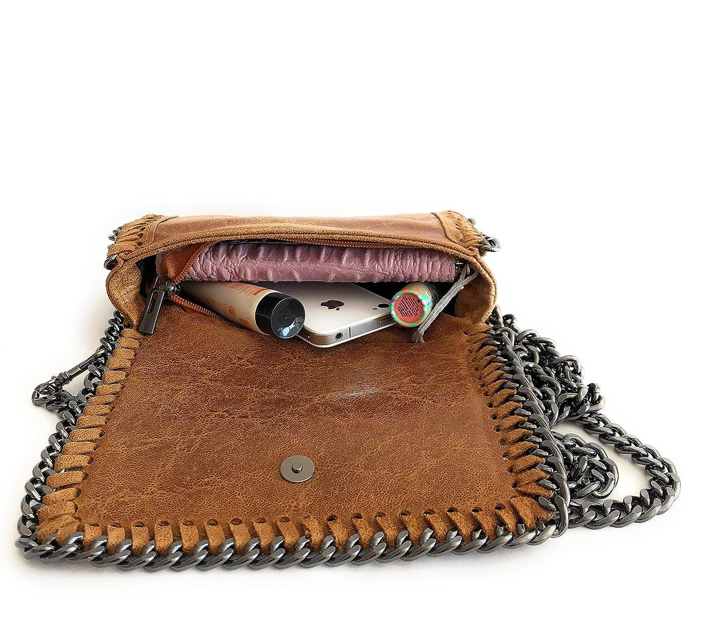 Ideal para Llevar como Bandolera o Tipo Clutch. Cartera de Mano. Bolso de Piel. Hecho en Italia (CAMEL): Amazon.es: Zapatos y complementos
