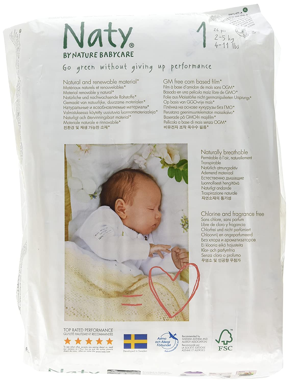 Naty Eco Nappies ? Size 1 Newborn 2-5kg 4-11lb 26pcs Nature Babycare 18591
