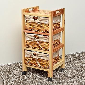 Mueble de pino con cestas de mimbre con detalle de flores para baño ...
