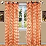"""Elegant Comfort Luxury Sheer Look Printed Grommet Window Curtain Panel Set 54"""" X 84 inch (Set of 2), Orange"""