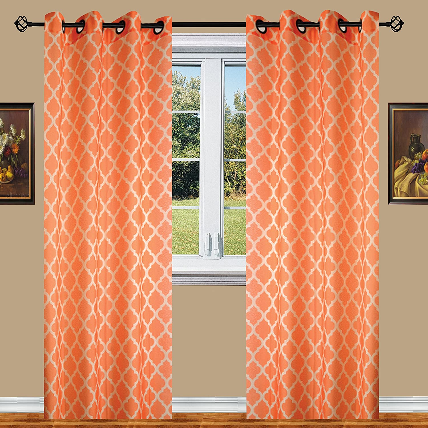 Orange Elegant Comfort Luxury Sheer Look Printed Grommet Window Curtain Panel Set