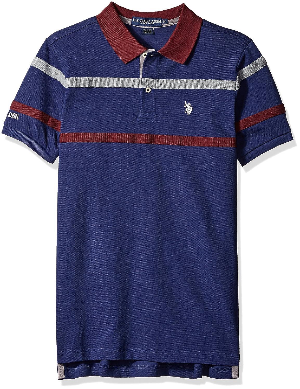 US Polo Assn Men's Double Chest Stripe Pique Polo Shirt