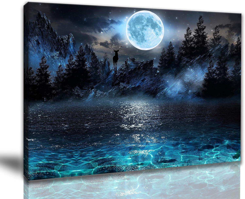 Wall Art For Bedroom Moon Deer Ocean Landscape Picture Room Decorations For Teen Girls Modern Decor Teen Room Decor Canvas Wall Art Moon Decor Rivulet Moonlight Size 12x16