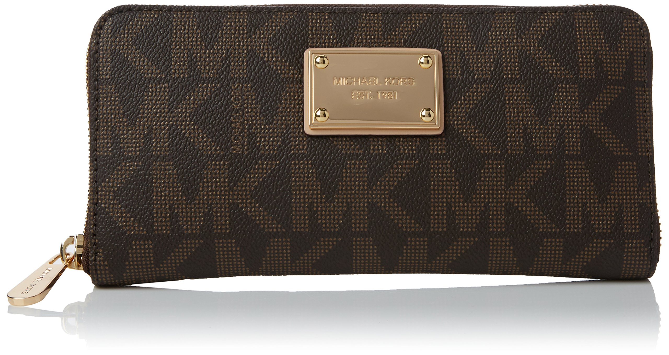 MICHAEL Michael Kors Mk Logo Zip Around Continental,Brown,one size