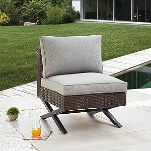 LOKATSE HOME Patio Sofa Rattan Armless Chair X Shape Leg Metal Frame Outdoor Wicker Furniture with Cushions for Garden Backyard Pool, Brown