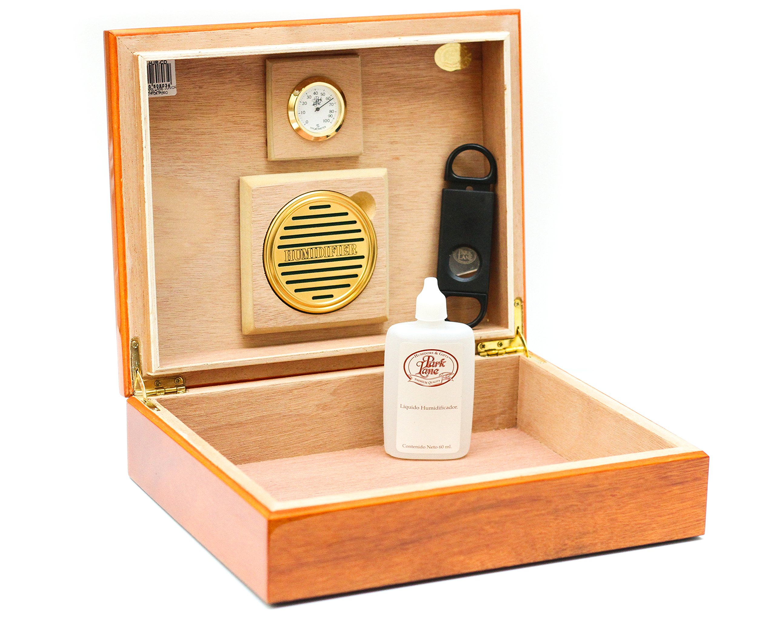BCIC Cigar - 25 Cigar, Latin-American Made Desktop Humidor - Gloss Cedar