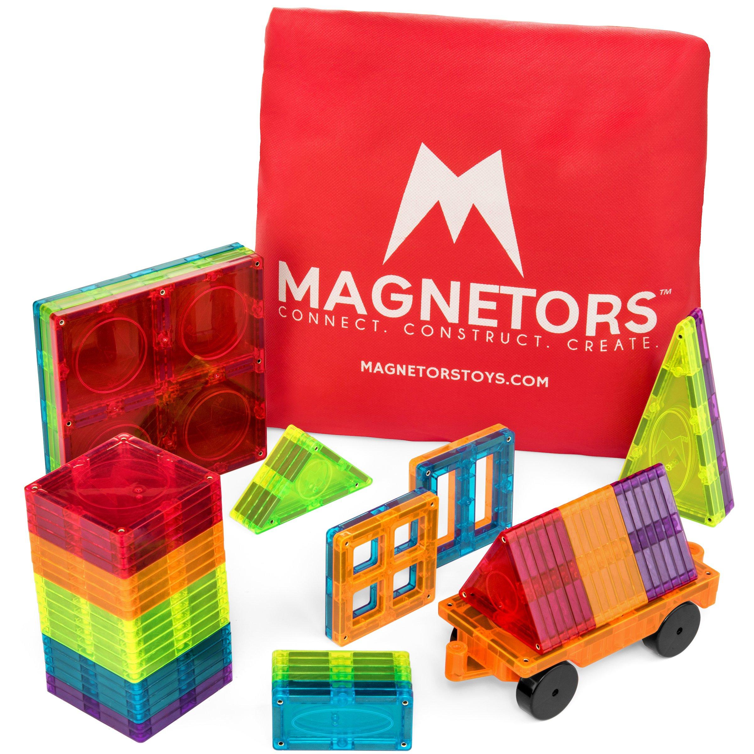 Magnetors Magnetic Building Blocks Tiles - 3D STEM Construction Toys for Kids, Educational Montessori Boys & Girls Toy, Large & Small Shapes & Sizes, 60 Piece Set + Car + Bonus Travel Bag