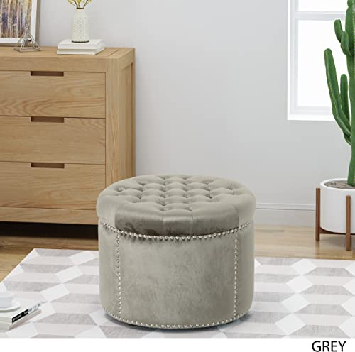 Christopher Knight Home Carlos Glam Velvet Tufted Ottoman, Grey
