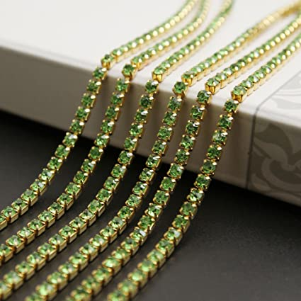USIX 10 Yards Crystal Rhinestone Close Chain Trimming Claw Chain Multi Size Color Rhinestone Chain for DIY Arts Craft Sewing Jewelry Making, Green-Gold Chain, SS12/3.0MM